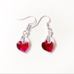 Red Swarovski Crystal Heart Earrings